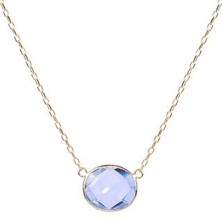 14k Yellow Gold Blue Topaz Oval Bezel Center Necklace