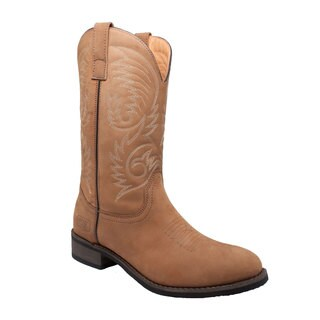 Men's 11-inch Round Toe Western Pull-on Boots Tan