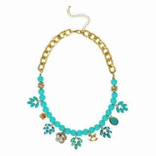 Alexa Starr Goldtone & Turquoise Floral Charm Drops Necklace