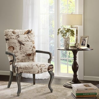 Madison Park Joni Ivory Multi Goose Neck Arm Chair