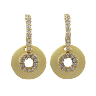 Luxiro Matte Gold Finish Cubic Zirconia Medallion Dangle Earrings