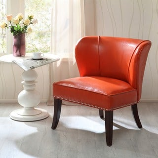 Link to Madison Park Sheldon Orange Concave Back Armless Accent Chair Similar Items in Accent Chairs