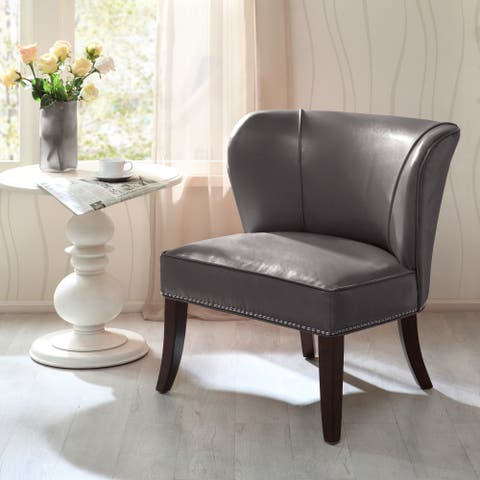 Madison Park Sheldon Concave Back Armless Grey Accent Chair