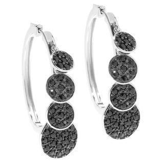 Sterling Silver Black Spinel Dangle Hoop Earrings