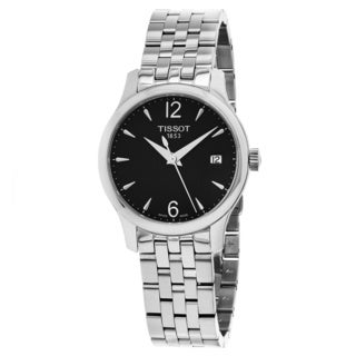 Tissot Women's T063.210.11.057.00 'Tradition' Black Dial Stainless Steel Swiss Quartz Watch