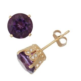 Gioelli  10k Yellow Gold Amethyst 1/6ct TDW Diamond Crown Stud Earrings (H-I/I1-I2)