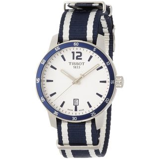 Tissot Men's T0954101703701 'Quickster Nato' Extra Bands Blue and white Nylon Watch