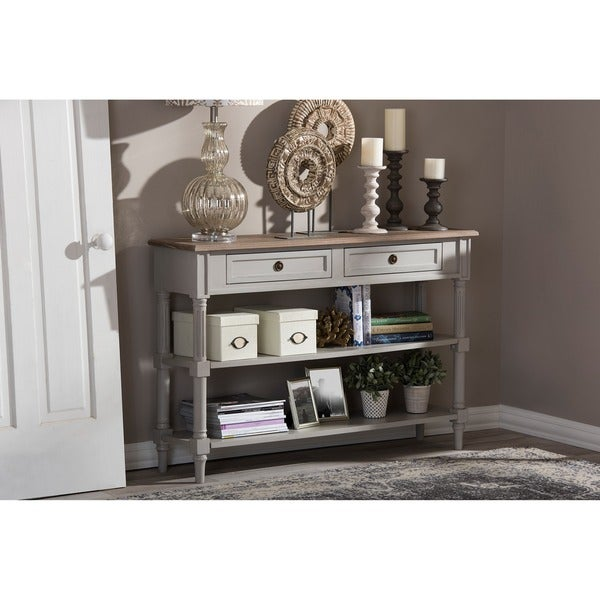 Baxton Studio Edouard French Provincial Style White Wash Distressed Two Tone  2 Drawer Console Table   Free Shipping Today   Overstock.com   17880013