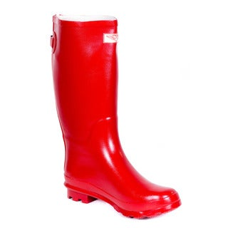Women Full Rubber Red Rain Boots with Rear Decorative Zipper Design