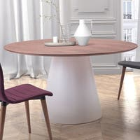 Query Contemporary Round Walnut Top and White Cone Dining Table - Walnut/Whie