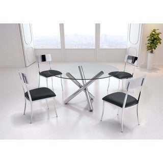 Zuo Stant Round Glass and Chrome Dining Table