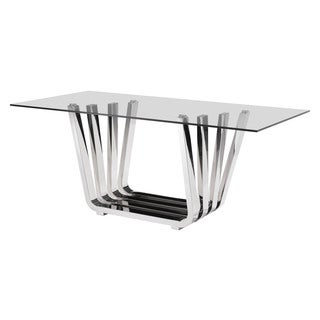 Fan Modern Glass and Chrome Dining Table - Chrome Finish