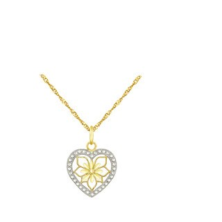 10k Yellow Gold Heart with Floral Design Charm Pendant
