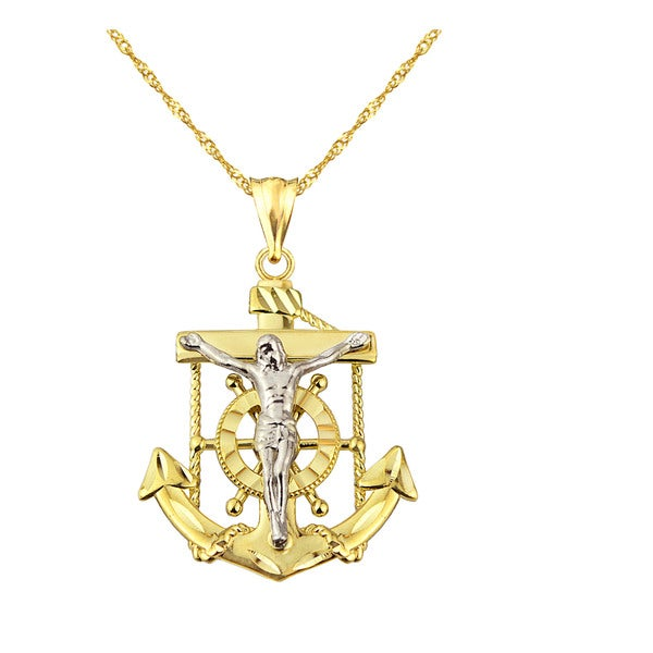 Fine Jewelry Mens Diamond Accent Stainless Steel & 14K Yellow Gold Anchor Mariner Cross Pendant sKboj