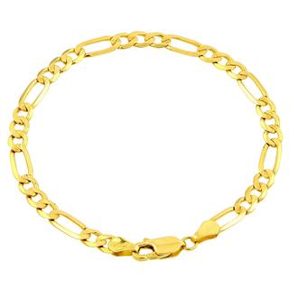 10k Yellow Gold Men's Figaro Chain Italian Bracelet