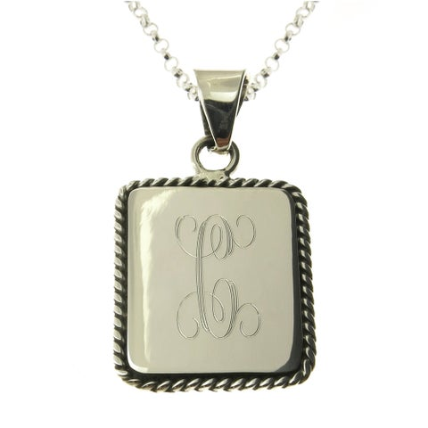 Handmade Sterling Silver Personalized Rectangular Rope Edge Pendant Necklace (Mexico)