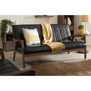 Baxton Studio Nikko Mid Century Modern Scandinavian Style Black Faux Leather  Wooden 3 Seater