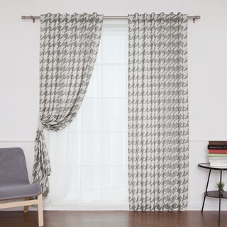 Aurora Home Houndstooth Print Flax Linen Blend Grommet Top Curtain Panel Pair
