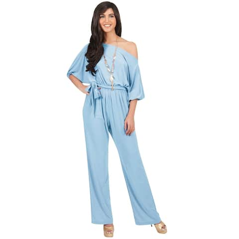 KOH KOH Long One Off Shoulder 3/4 Sleeve Dressy Sexy Cocktail Jumpsuit