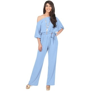 KOH KOH Womens One Shoulder 3/4 Sleeve Casual Cocktail Jumpsuit (Option: Grey)