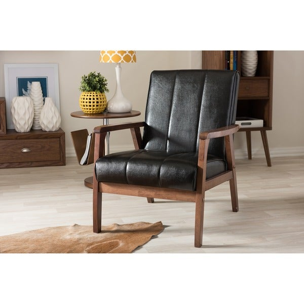 Shop Mid Century Black Faux Leather Chair On Sale Free