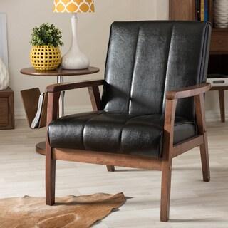 Baxton Studio Nikko Mid-century Modern Scandinavian Style Black Faux Leather Wooden Lounge Chair