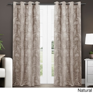 ATI Home Bangalore Paisley Thermal Insulated Grommet Top Window 84-Inch Curtain Panel Pair
