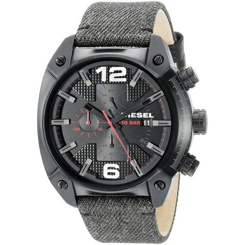Diesel Men's DZ4373 'Overflow' Chronograph Green Leather Watch