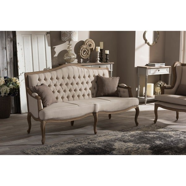 Baxton Studio Oliver French Provincial Style Weathered Oak Wood Beige  Fabric Button Tuftted Upholstered 3
