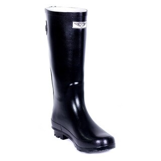 Women's Full Rubber Black Rain Boots Rear Decorative Zipper Design