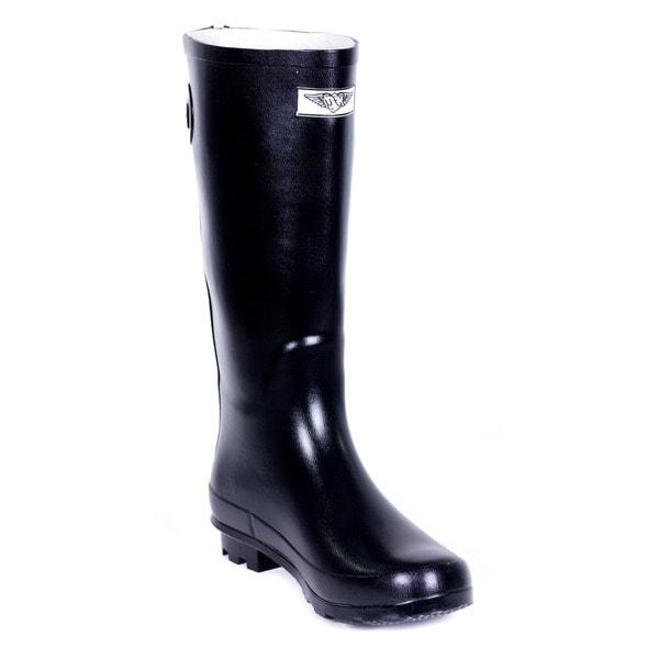 Trgovina Womens Full Rubber Črni dežni škornji Rear Decorative-3984