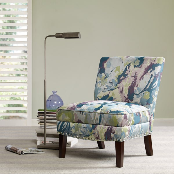 Madison Park Alex Curved Back Slipper Chair  Blue