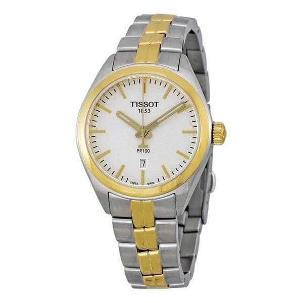 Tissot Women's T101.210.22.031.00 'PR 100' Silver Dial Two Tone Stainless Steel Swiss Quartz Watch