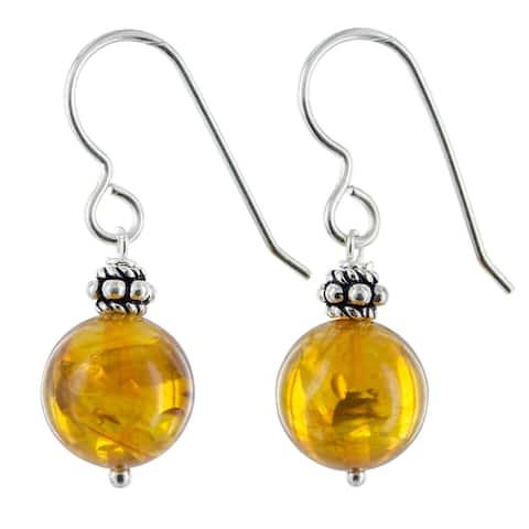 Amber Gemstone Silver Handmade Earrings