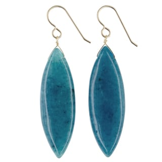 Ashanti Teal Jade Gemstone 14K GF Handmade Earrings