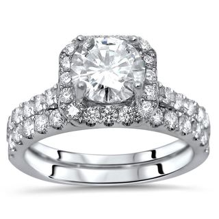 Noori Certified 18k White Gold Enhanced 1 3/5ct TDW Round Diamond Engagement Ring Set
