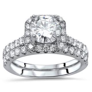 Noori Certified 18k White Gold Enhanced 1 3/5ct TDW Round Diamond Engagement Ring Set