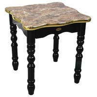Small Wood Coffee Table, Accent End Table,Gold Marble Finish