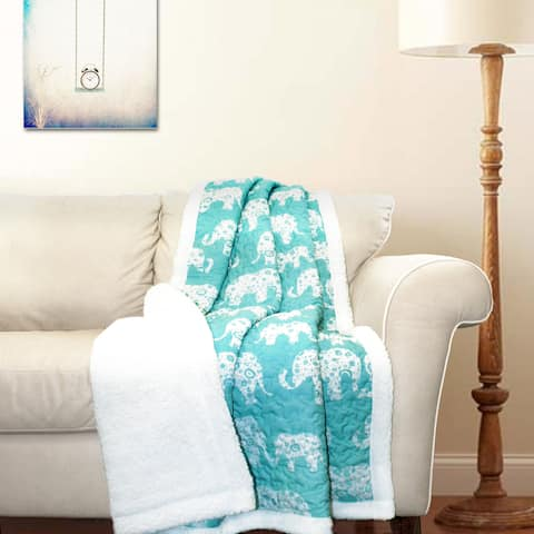 Taylor & Olive Amelia Blue Elephant Throw Blanket