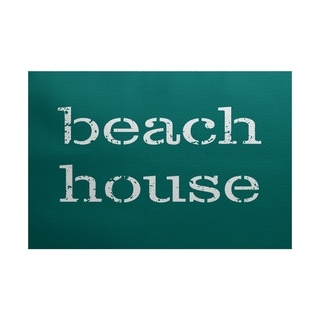 Beach House Word Print Area Rug (3' x 5')