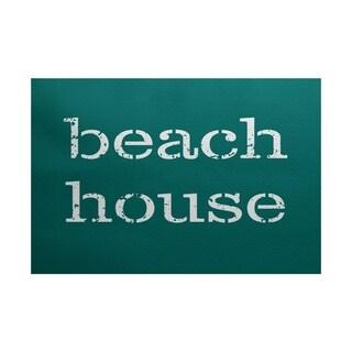 Beach House Word Print Area Rug (2' x 3')
