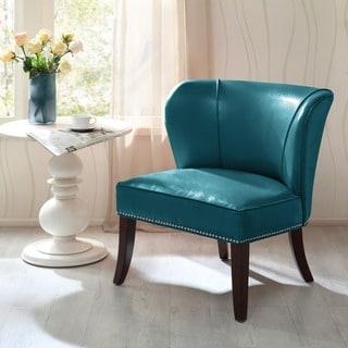 Madison Park Sheldon Blue Concave Back Armless Chair