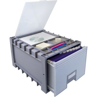 Plastic Archive Storage Box with Lid, Letter Size, 18-Inch Drawer