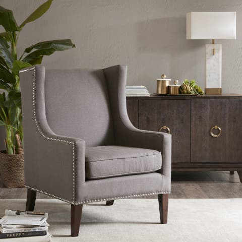 Madison Park Weston Charcoal Wing Chair