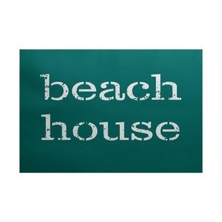 Beach House Word Print Area Rug (5' x 7')