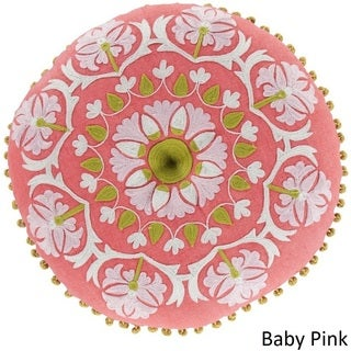 Decorative Rayleigh 16-inch Round Suzani Poly Filled Pillow
