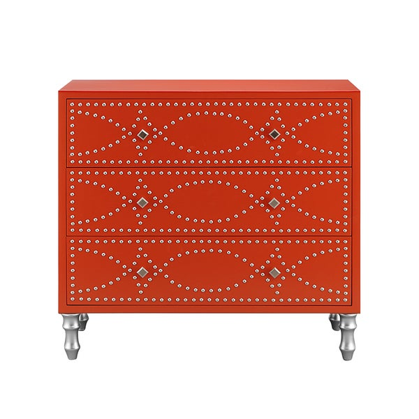 Madison Park Lyon Tangerine Nail Head Accent Chest Free