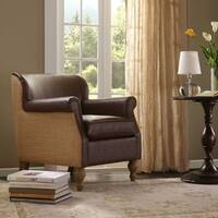 Madison Park James Tan/ Chocolate Turned Leg Club Chair