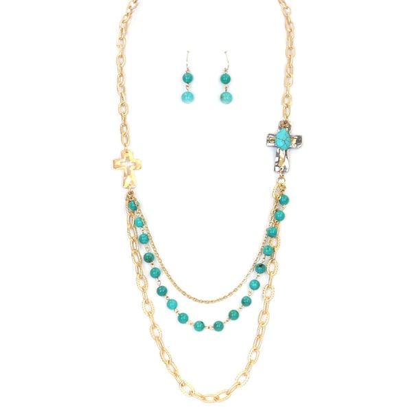 Shop Gold 28 Inch Multi Strand Layered Cross Necklace Set