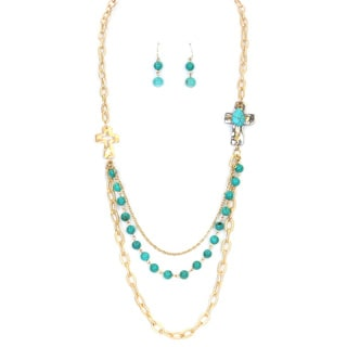 28-inch Multi-strand Layered Metal Turquoise and Glass Bead Cross Necklace Set